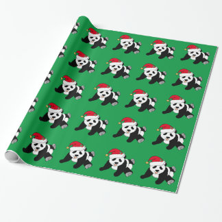 Christmas Panda Bear Green Wrapping Paper