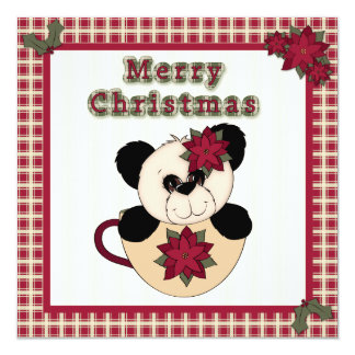 Christmas Panda Bear in Cup Plaid Family Party 5.25x5.25 Square Paper Invitation Card