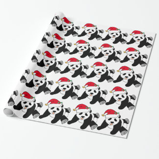 Christmas Panda Bear in Santa Hat Wrapping Paper