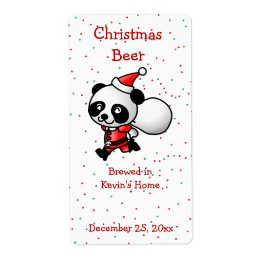 Christmas Panda Bear Mini Beer Label