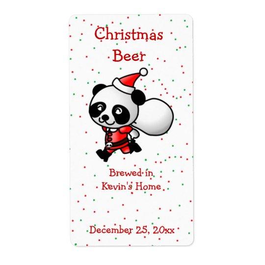 Christmas Panda Bear Mini Beer Label Shipping Label