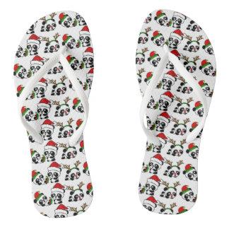 Christmas Pandas Flip Flops