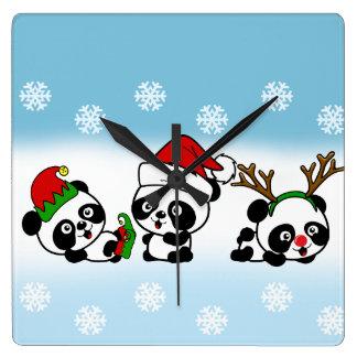 Christmas Pandas Square Wall Clock