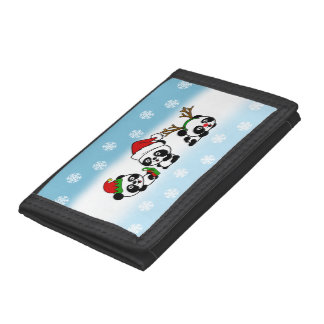 Christmas Pandas Trifold Wallets