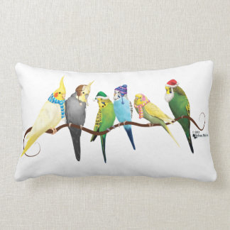 Christmas Parakeets & Cockatiels Lumbar Pillow