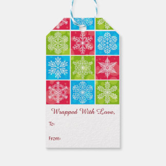 christmas parcel tags bright snowflakes pattern pack of gift tags