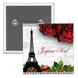 Christmas Paris Eiffel Tower Zebra Rose Flower 2 Inch Square Button