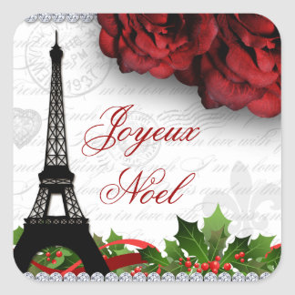 Christmas Paris Eiffel Tower Zebra Rose Flower Square Sticker