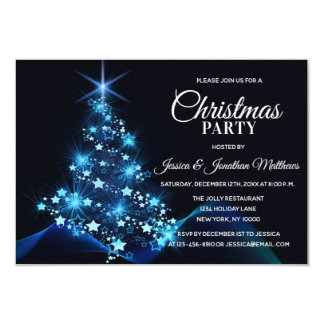 CHRISTMAS PARTY BLUE Twinkle Lights Snow Tree Card