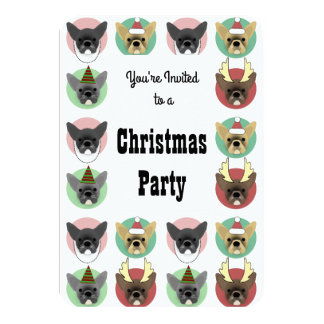 Christmas Party Bulldog Puppies Card