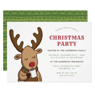 Christmas Party | Cartoon Rudolph Drinking Cocoa Card
