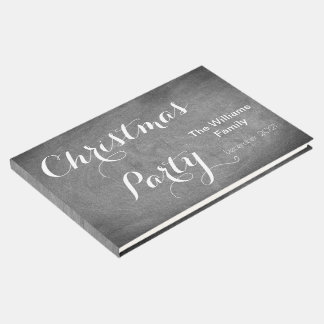 Christmas Party Chalkboard Typography Black White Guest Book