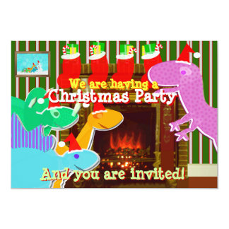 Christmas Party Cute Cartoon Dinosaurs Invitations