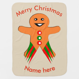 Christmas Party Gingerbread Man Baby Blanket