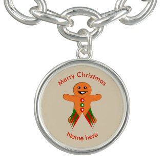 Christmas Party Gingerbread Man Charm Bracelet