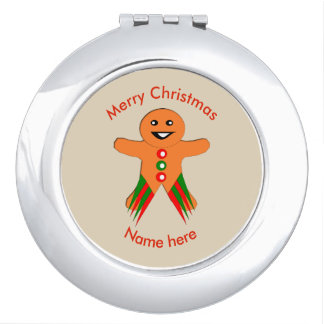 Christmas Party Gingerbread Man Compact Mirror