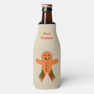Christmas Party Gingerbread Man Custom Bottle Cooler