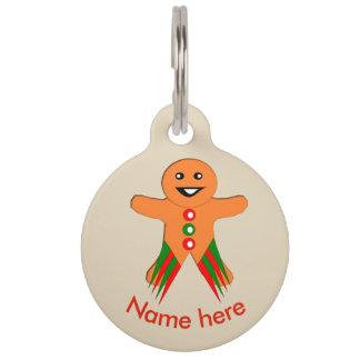 Christmas Party Gingerbread Man Custom Dog Tag