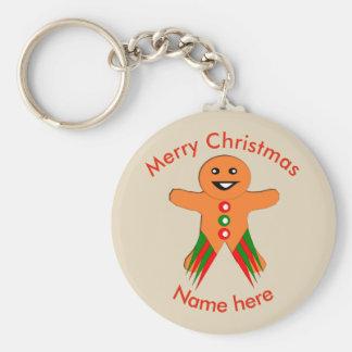 Christmas Party Gingerbread Man Custom Keychain
