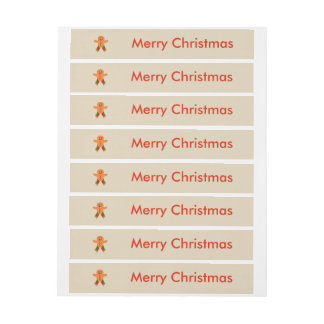 Christmas Party Gingerbread Man Custom Labels