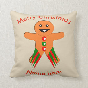 Christmas Party Gingerbread Man Custom Pillow