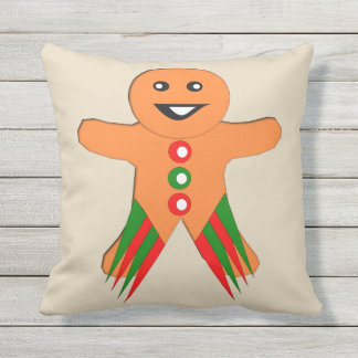 Christmas Party Gingerbread Man Outdoor Pillow