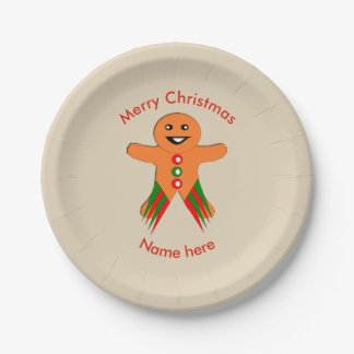Christmas Party Gingerbread Man Paper Party Plate 7 Inch Paper Plate