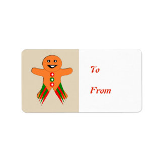 Christmas Party Gingerbread Man Present Tag Label