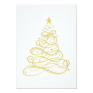 Christmas Party - Golden Filigree Christmas Tree Card