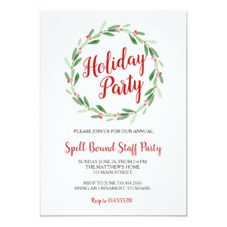 Christmas Party Greenery Wreath Invitation