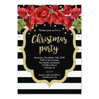 Christmas party invitation black white gold