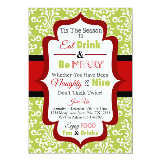 Christmas Party Invitation - Eat Drink & Be Merry