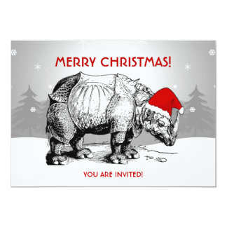 Christmas Party Invitation Rhino Santa Hat Funny