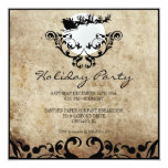 "Christmas Party Invitation-Santa and Reindeer 5.25"" Square Invitation Card"