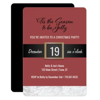 Christmas Party Invitation - Santa Belt