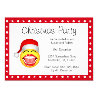 "Christmas Party Invitations Fun Santa Invites 5"" X 7"" Invitation Card"