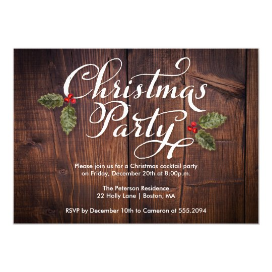 Christmas Party Invite Rustic Brown