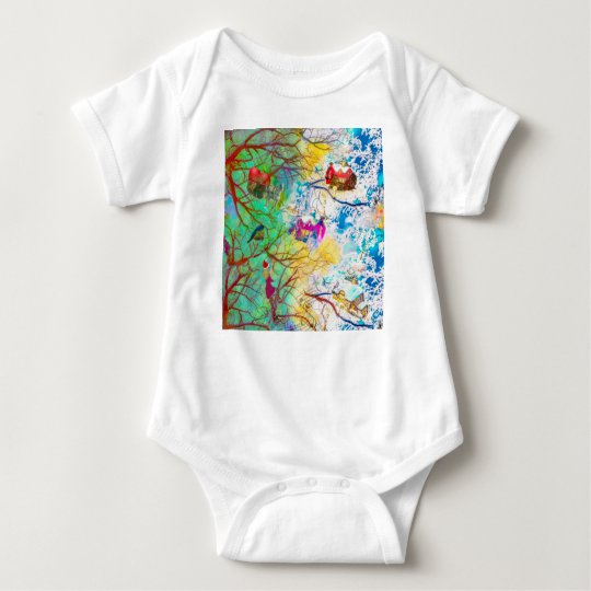 Christmas party on the tree baby bodysuit