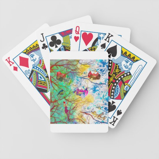 Christmas party on the tree bicycle playing cards