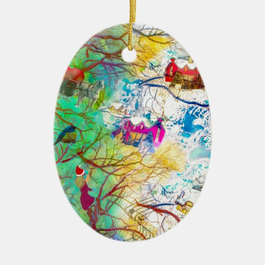 Christmas party on the tree ceramic ornament