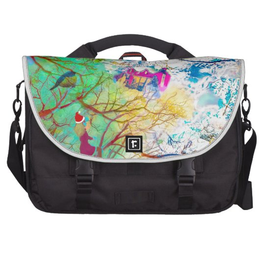 Christmas party on the tree laptop commuter bag