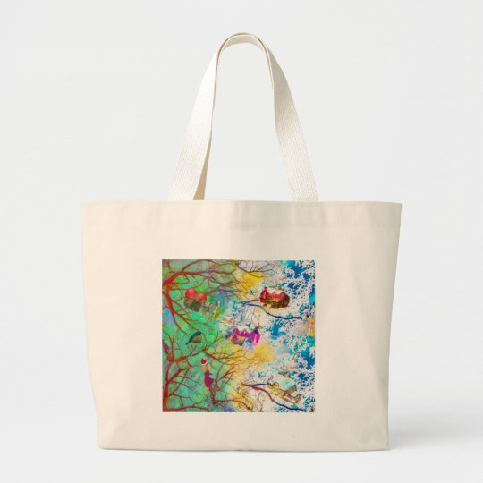 Christmas party on the tree large tote bag
