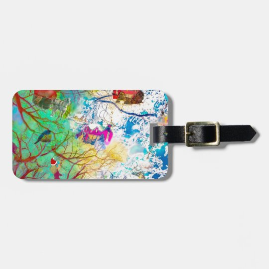 Christmas party on the tree luggage tag