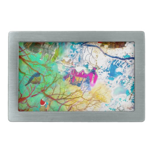 Christmas party on the tree rectangular belt buckle