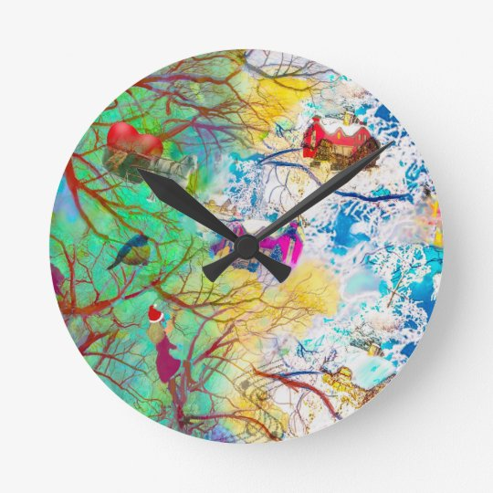Christmas party on the tree round clock