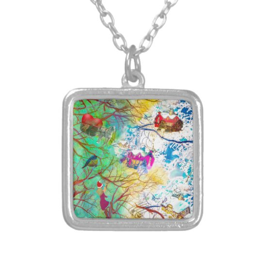 Christmas party on the tree silver plated necklace
