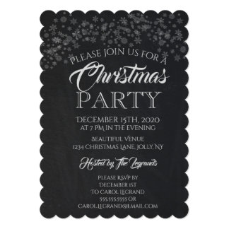 Christmas Party | Rustic Chalkboard Snowflakes Card