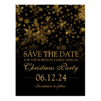 Christmas Party Save The Date Gold Sparkle Postcard