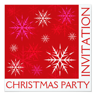 Christmas Party Snowflake Invitation Card