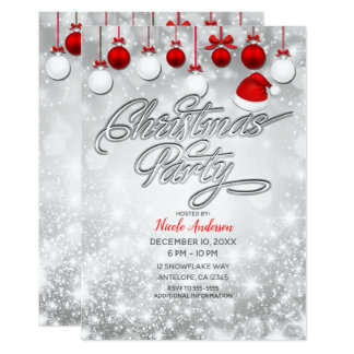 Christmas Party Winter Red White Ornaments Card